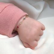 Pulseira Baby Cristais Coloridos em Ouro 18k 13,5cm