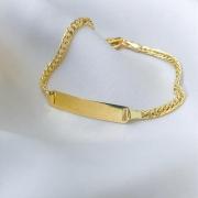 Pulseira Baby Groumet Plaquinha em Ouro 18K 14cm