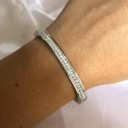 Pulseira Bracelete em aço Inox com Pedras
