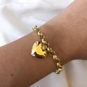 Pulseira Elo Português com Três Corações em Ouro 18K 18cm