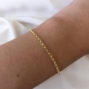Pulseira Elo Português Pequeno em Ouro 18K 18cm