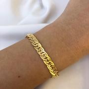 Pulseira Groumet Duplo em Ouro 18K 18cm