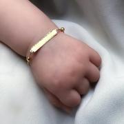 Pulseira Baby Plaquinha e Bolinhas  em Ouro 18k 13,5cm