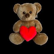 Ursinho De Pelúcia Marrom com Coração Vermelho