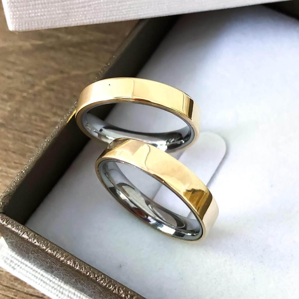 Alianças Retas e Lisas Encapadas em Ouro 5mm (Par)