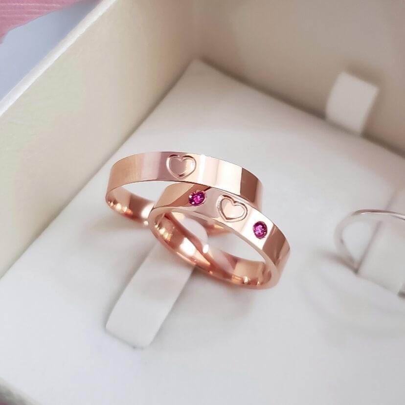 Alianças Coração em Prata Banhadas Ouro Rosê 5mm (Par)