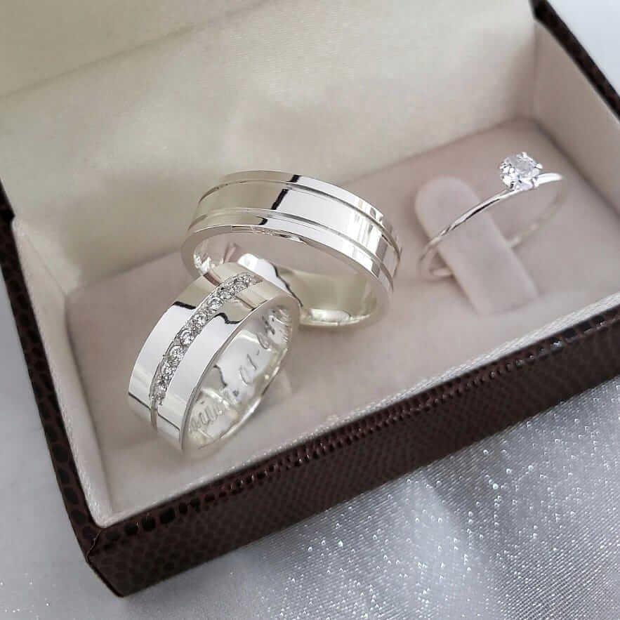 Alianças Cristal em Prata 7mm (Par)