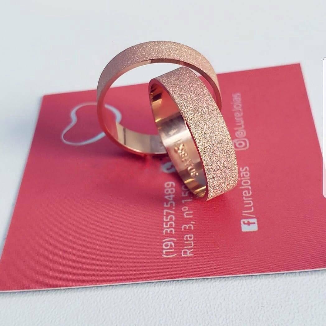 Alianças Glitter em Ouro Rosé 18k 5mm (Par)
