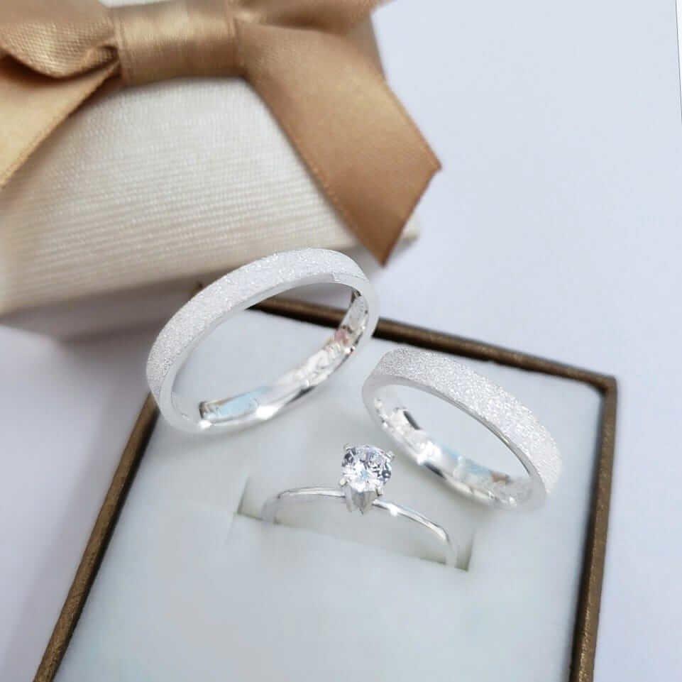 Alianças Glitter em Prata 3mm (Par)