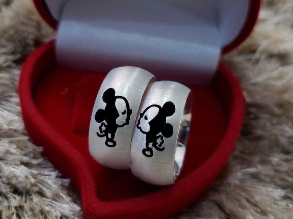 Alianças Minnie e Mickey em Prata 9mm (Par)