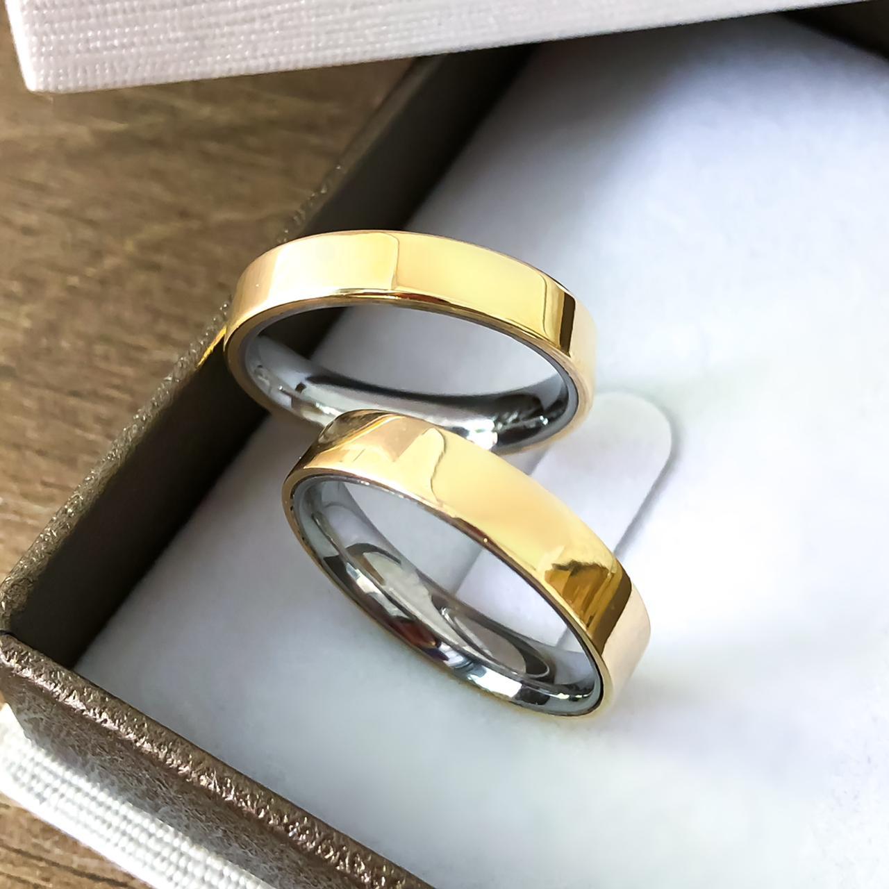 Alianças Retas Encapadas em Ouro 5mm (Par)