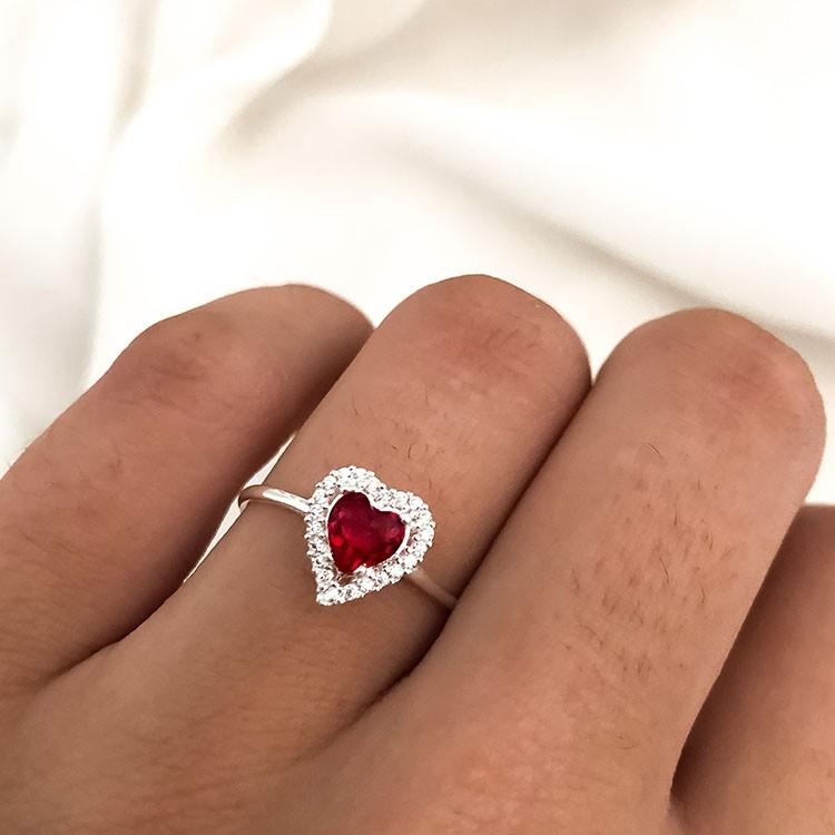 Anel Chuveiro Coração em Prata 925 Azul Vermelho