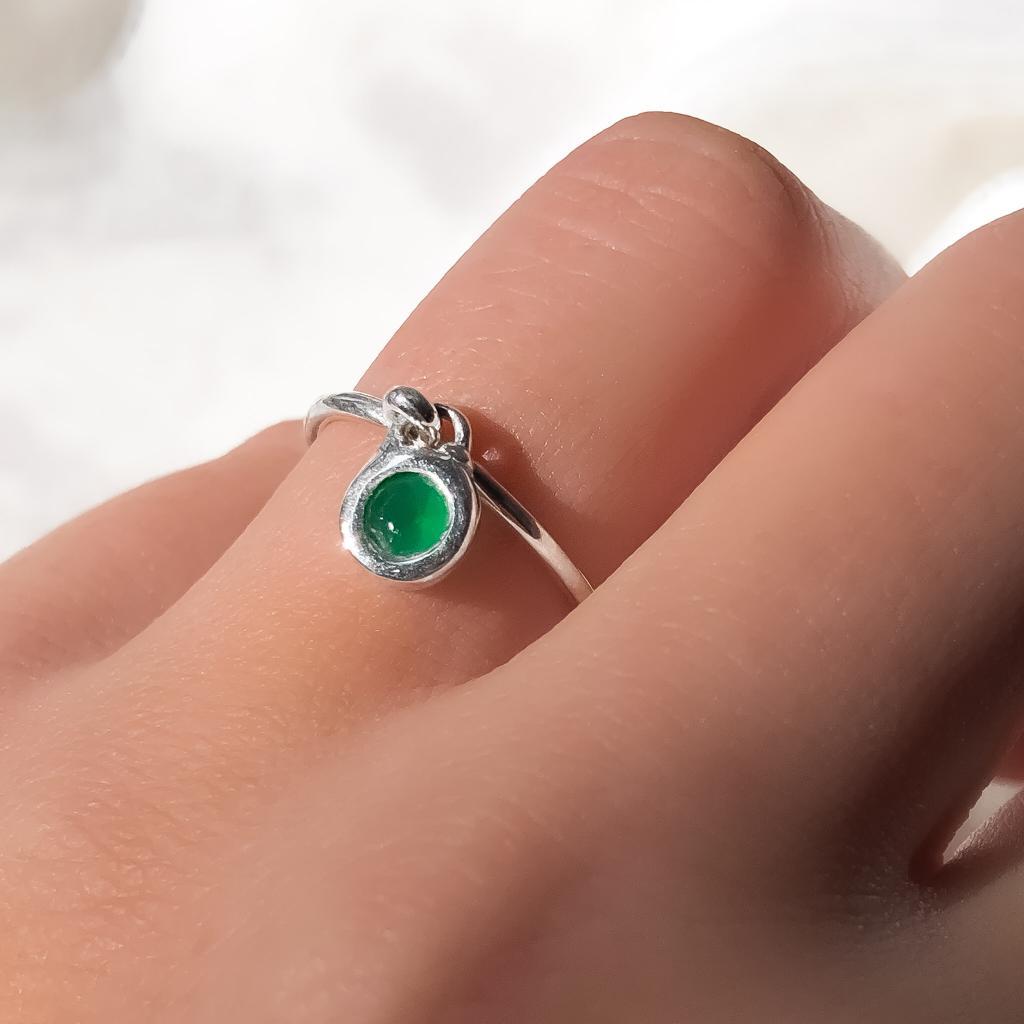 Anel Com Pingente em Prata 925 Verde