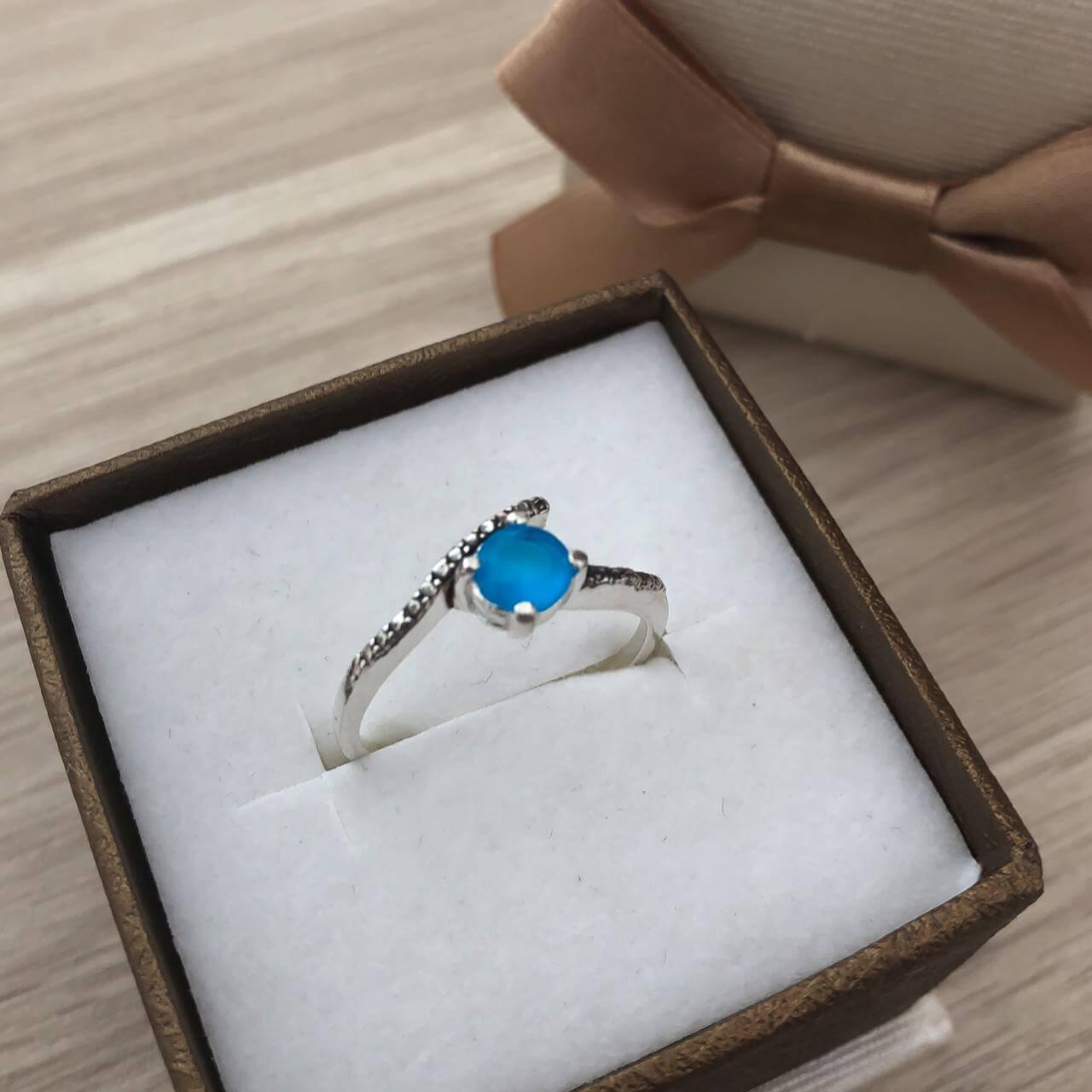 Anel Cristal em Prata 925 Azul