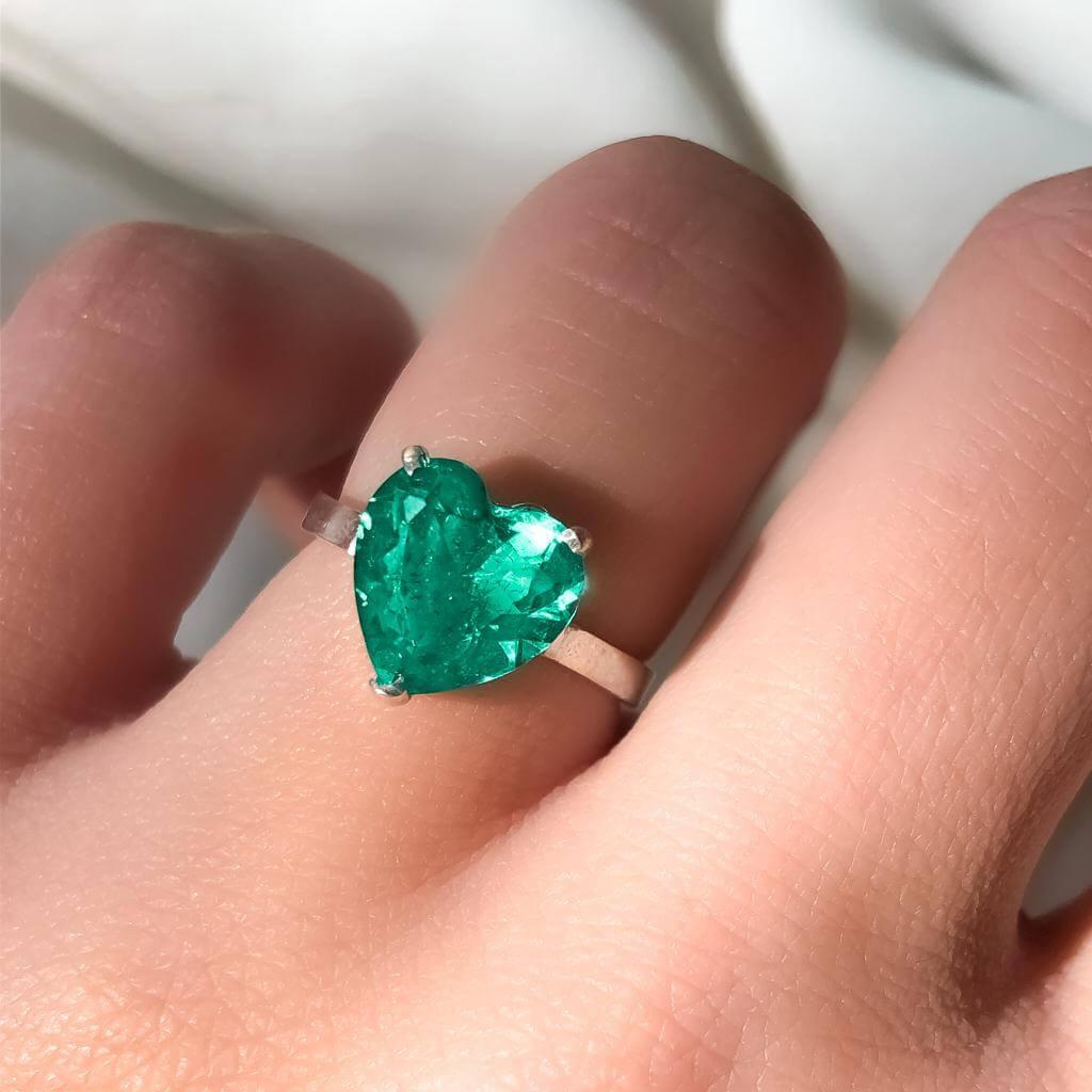 Anel Docinho Coração Cristal em Prata 925
