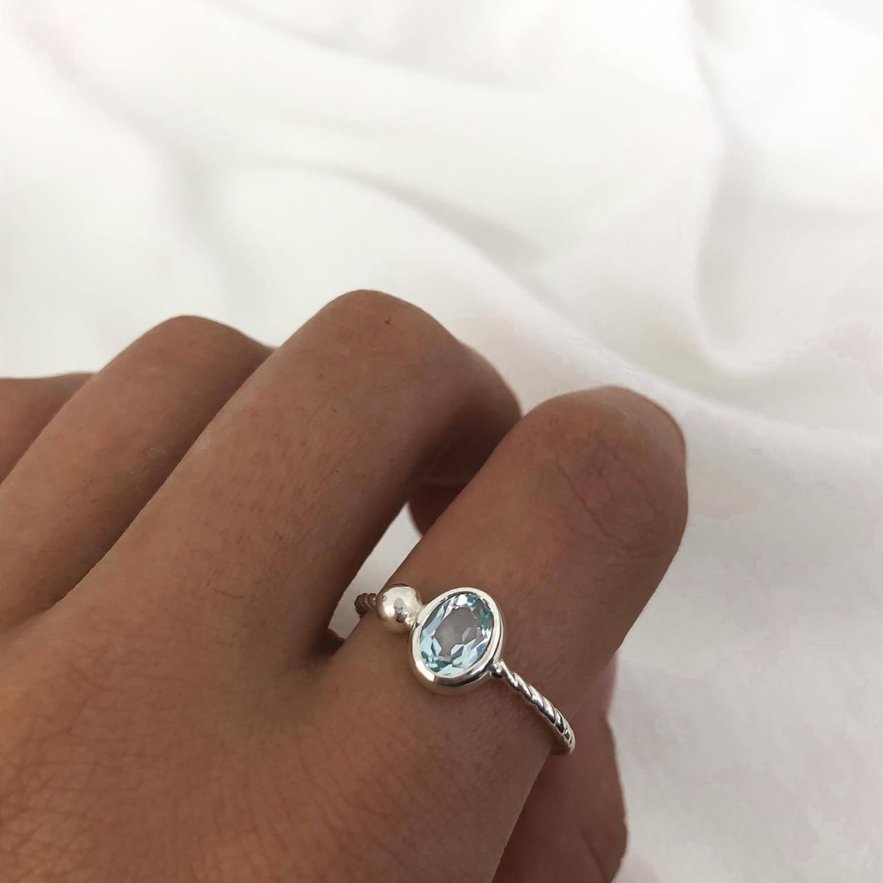 Anel Solitário Cristal Aquamarine em Prata 925
