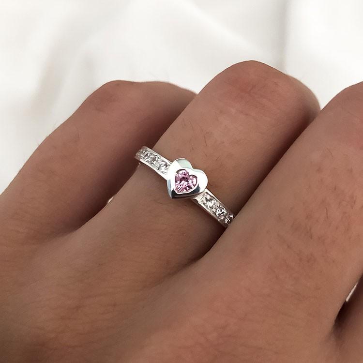 Anel  Sublime Coração em Prata 925 com Cristais Rosa 3mm