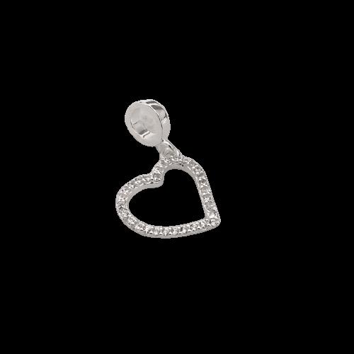 Berloque Coração Vazado em Prata 925 com Cristal
