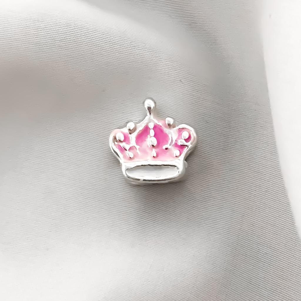 Berloque Coroa Rainha Rosa Banhado em Prata
