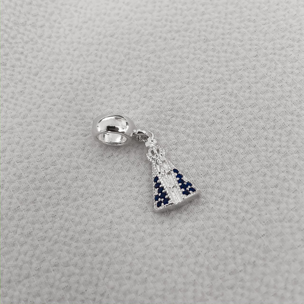 Berloque N.S. Aparecida em Prata 925 com Cristal Azul