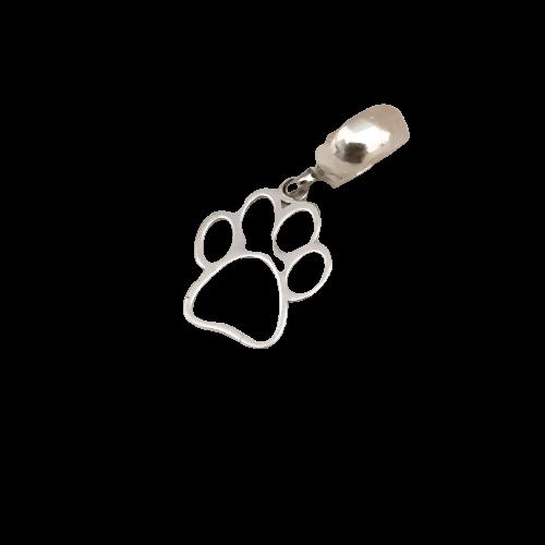 Berloque Patinha Cachorro em Prata 925 Vazado