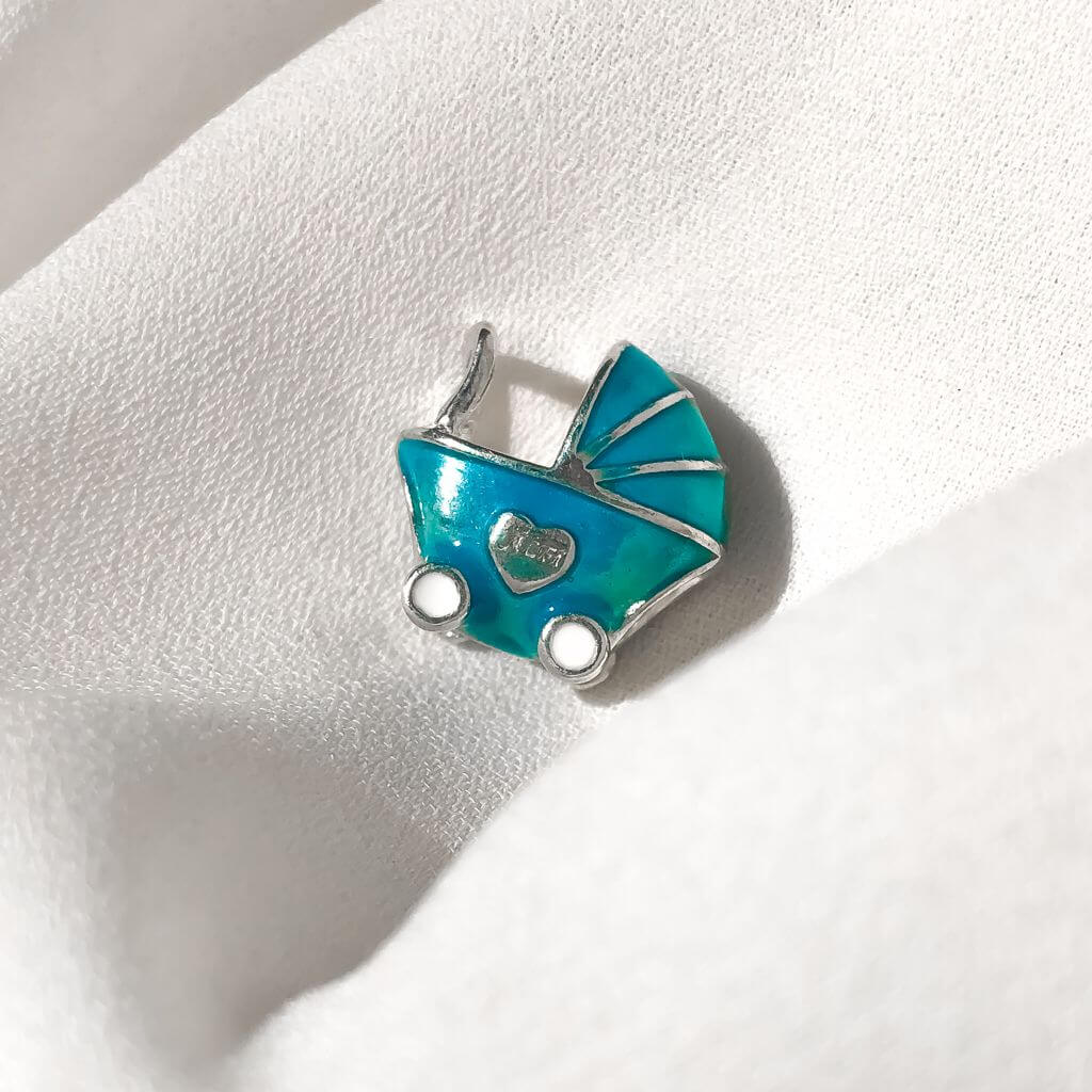 Berloque Separador Carrinho de Bebe Azul em Prata 925