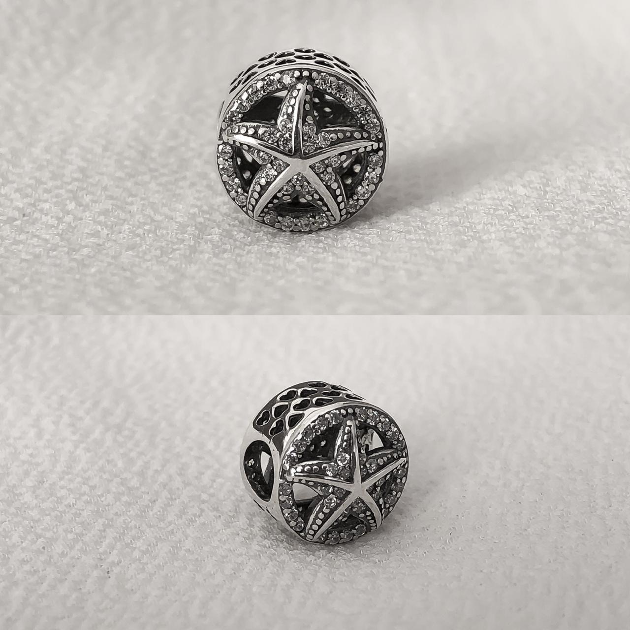 Berloque Separador Estrela do Mar em Prata 925 com Cristal
