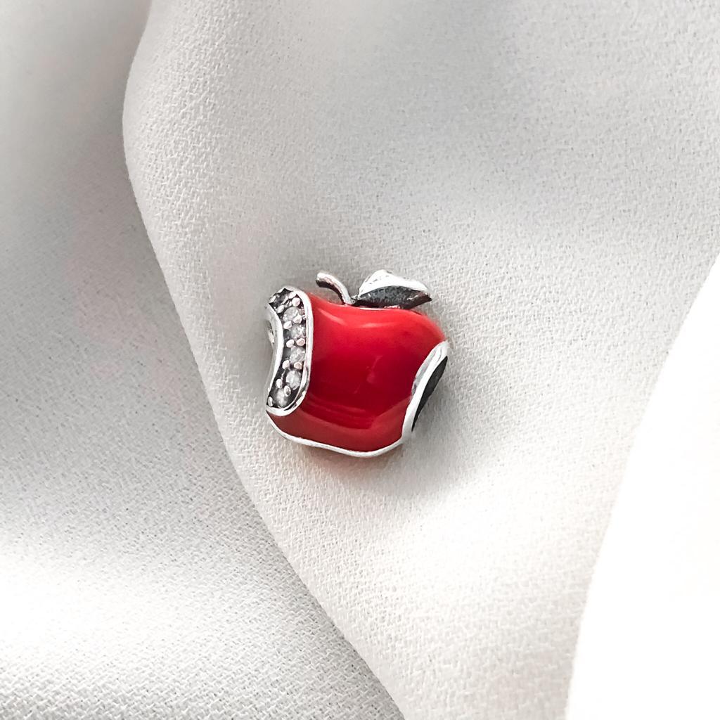 Berloque Separador Maça Vermelha em Prata 925