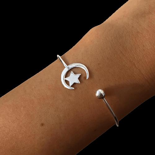 Bracelete Lua e Estrela em Prata 925
