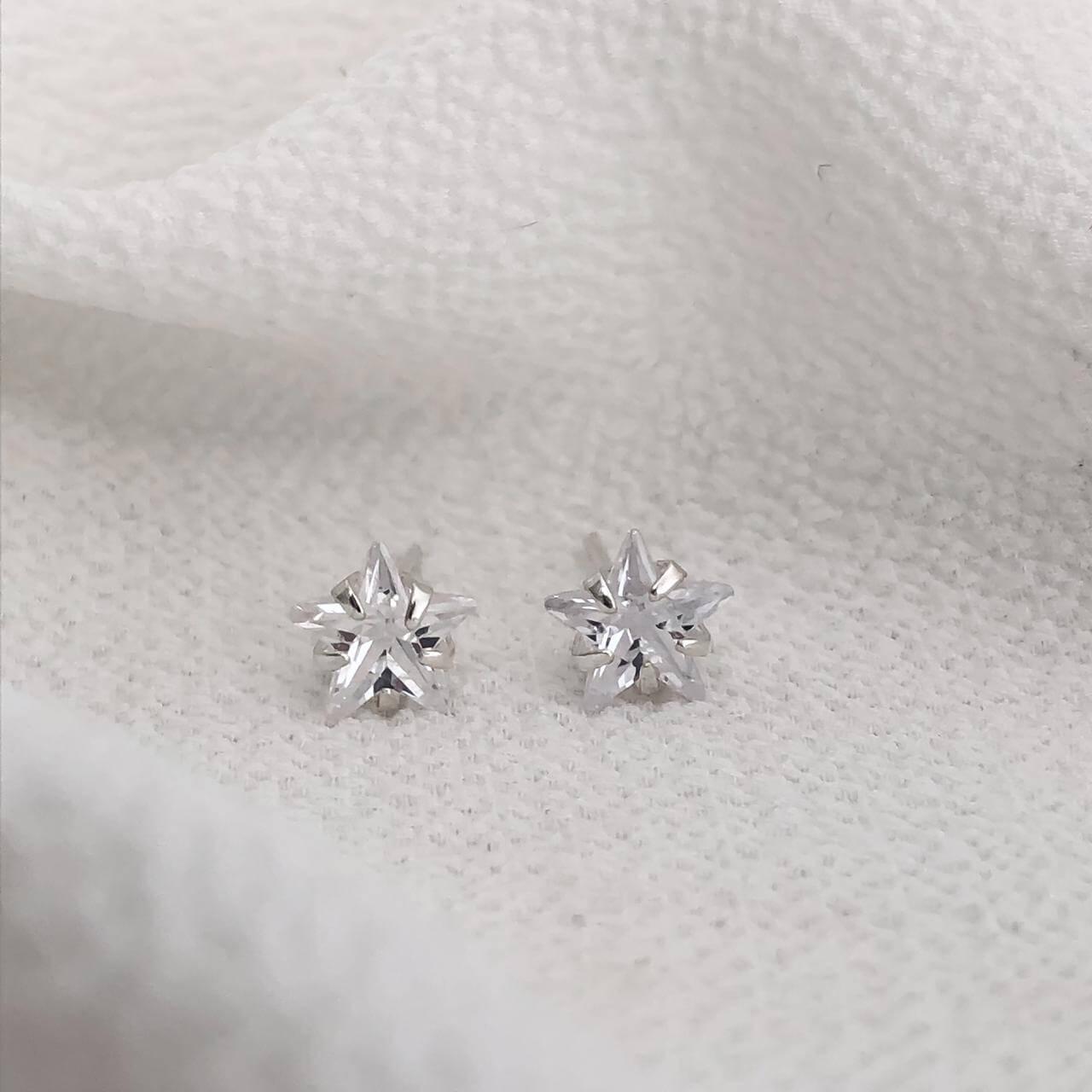 Brinco Estrela  Cristal em Prata 925 7mm