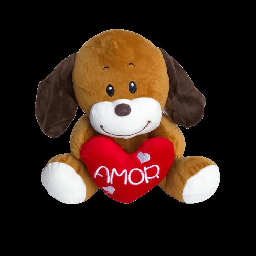 Cachorrinho De Pelúcia Amor com Coração Vermelho