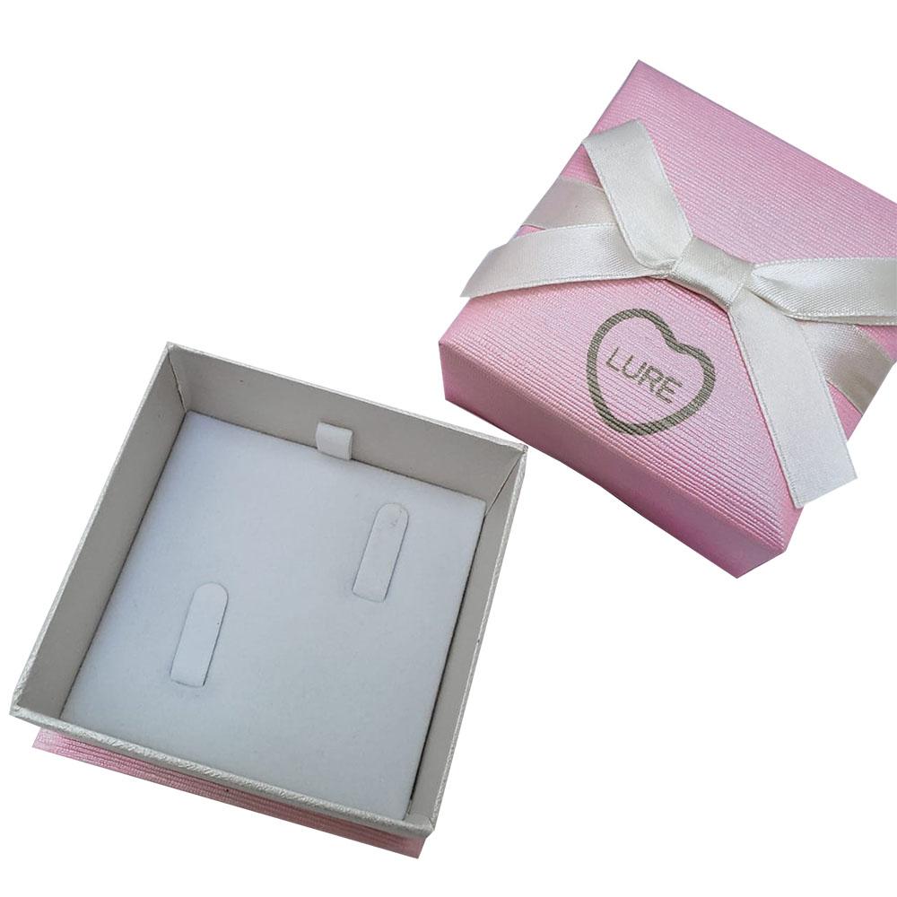 Caixinha em Papel Cartonado Rosa com Fita (Aliança)