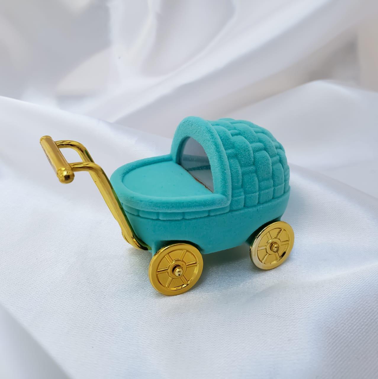 Caixinha em Veludo Carrinho de Bebê (Azul)