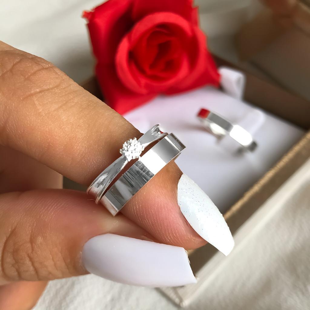 Combo Alianças Paris 4mm em Prata+ Anel Chuveiro Flor ❤️