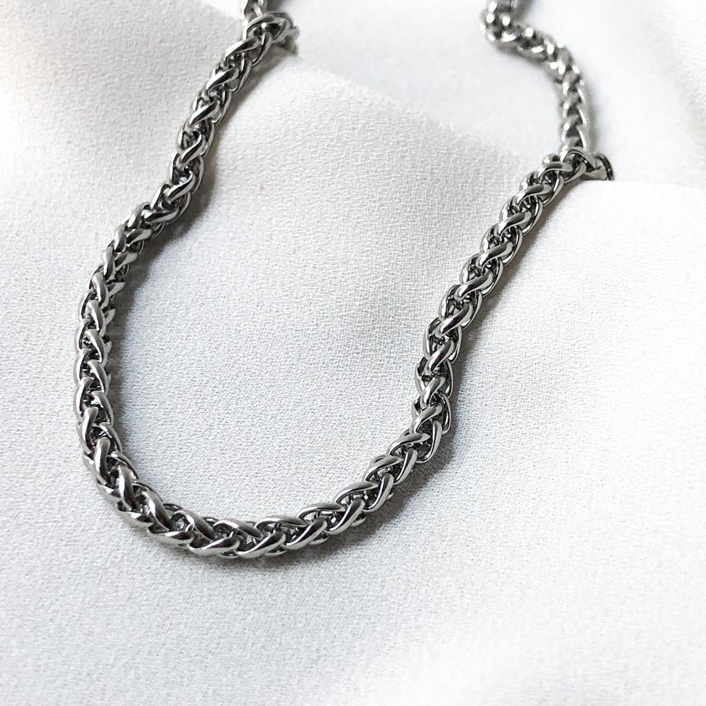 Corrente Cordão em Aço Inox Masculina 60cm
