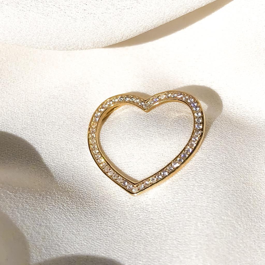 Pingente Coração com Pedrarias em Ouro 18k