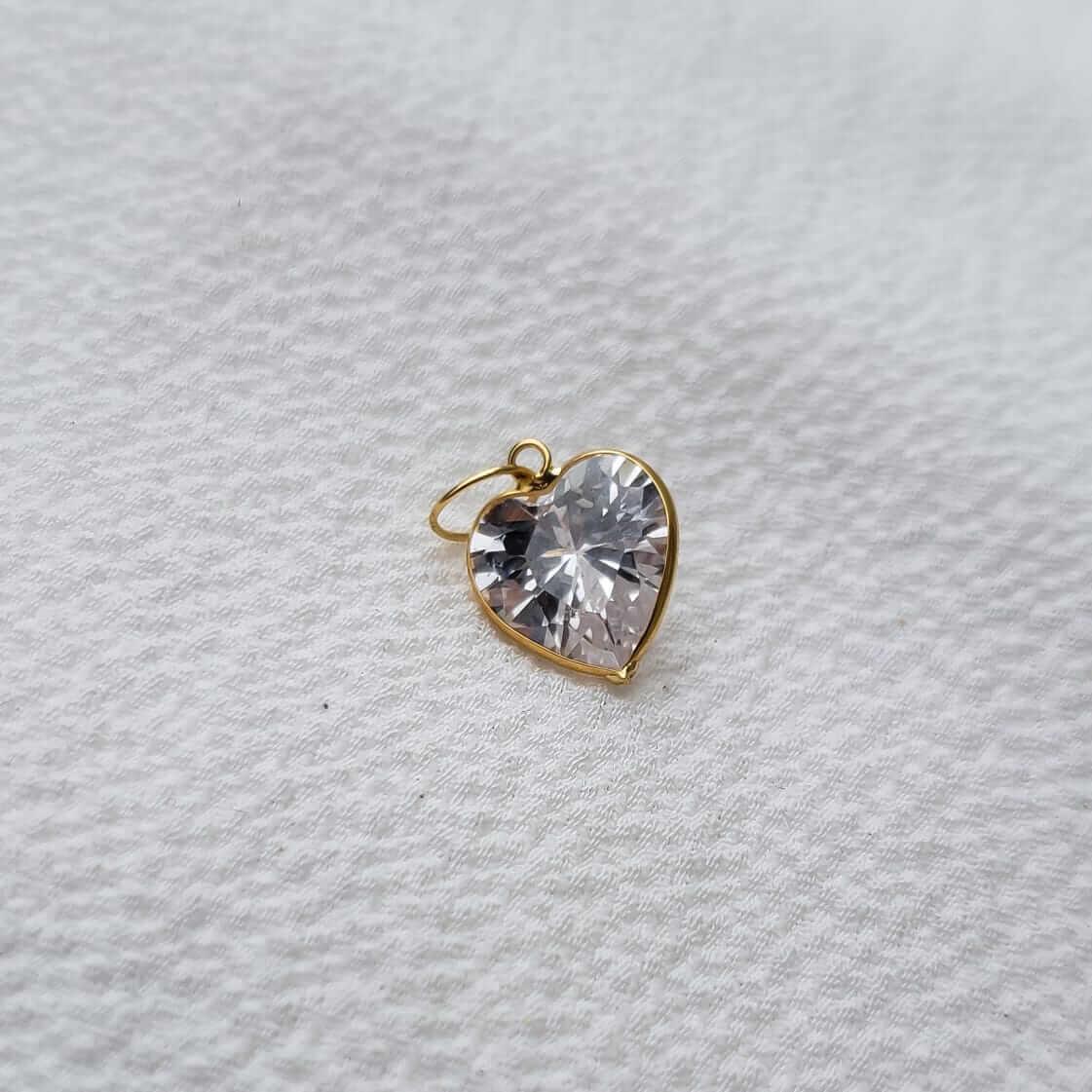 Pingente Coração Cristal em Ouro 18K