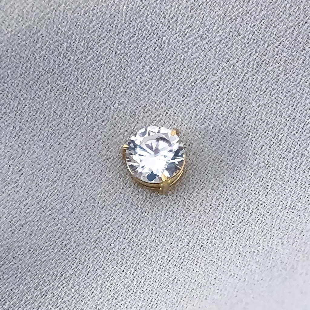 Pingente Cristal Redondo em Ouro 18K 5mm