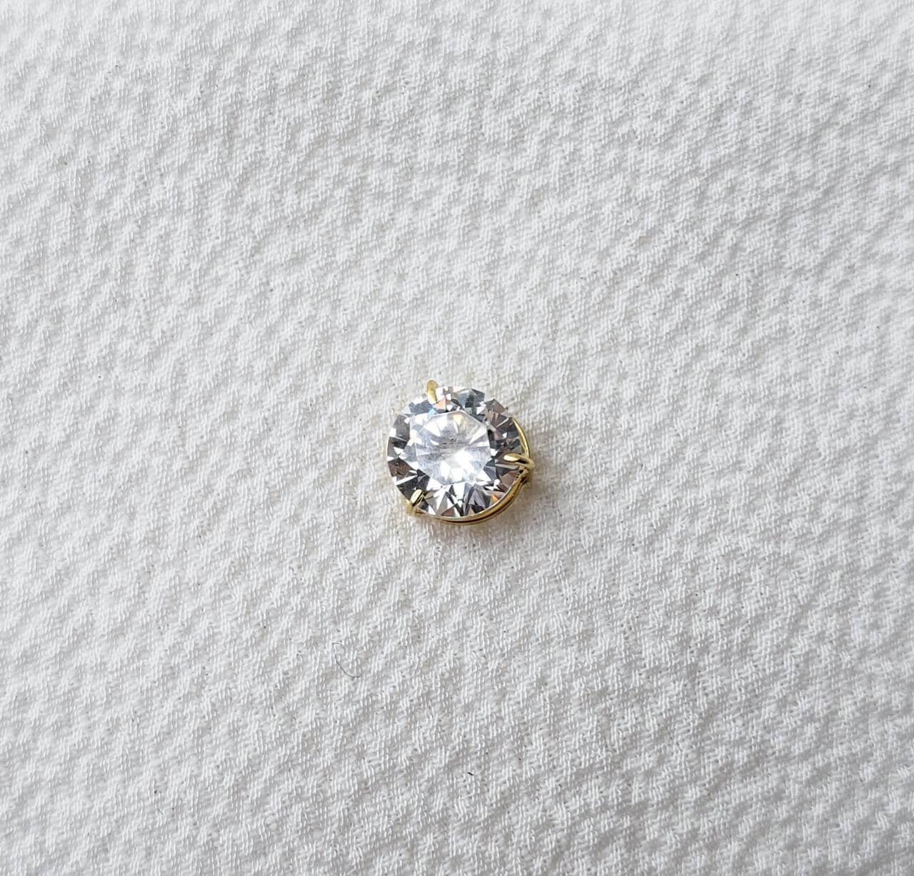 Pingente Cristal Redondo em Ouro 18K 6mm