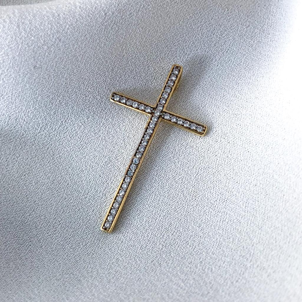 Pingente Cruz com Pedrarias em Ouro 18k