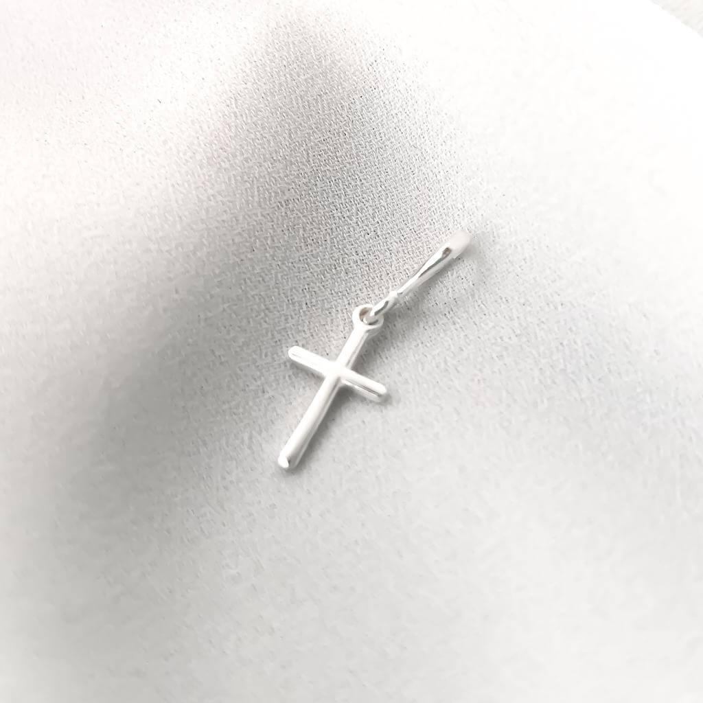 Pingente Cruz Lisa com Passador em Prata 925 P