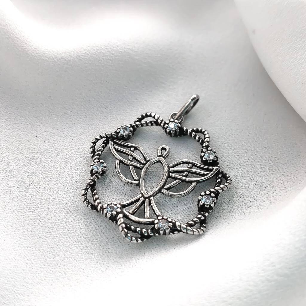 Pingente Espirito Santo em Prata 925 com Cristal