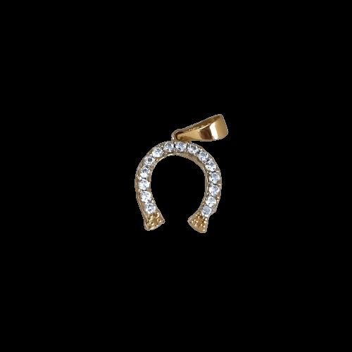 Pingente Ferradura Cravejada em Ouro 18k 5490P