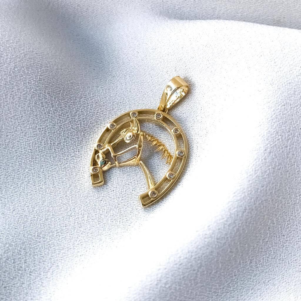 Pingente Ferradura e Cavalo em Ouro 18k 5173P