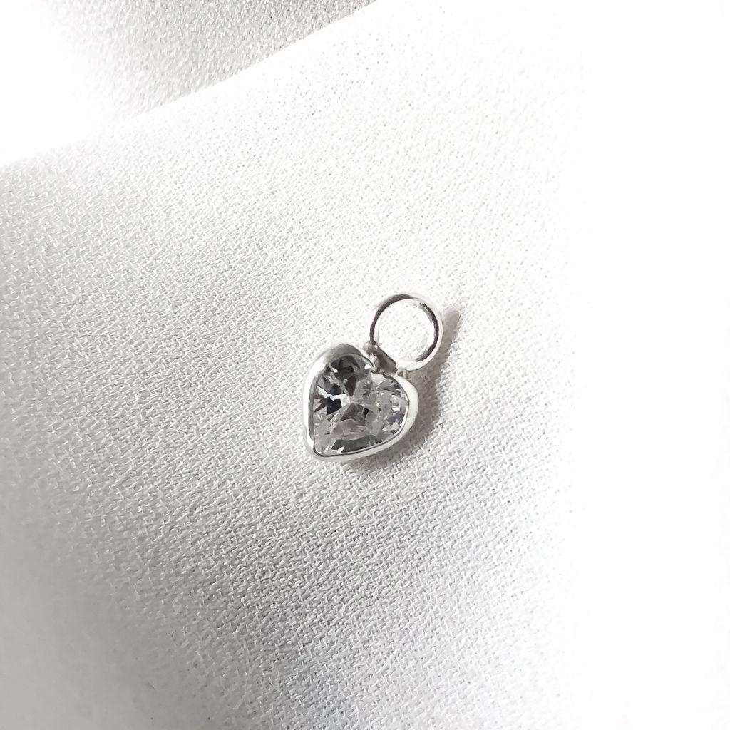 Pingente Riva Coração em Prata 925 (Pedra Branca)