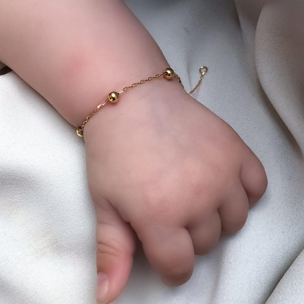 Pulseira Baby Bolinhas em Ouro 18k 13cm