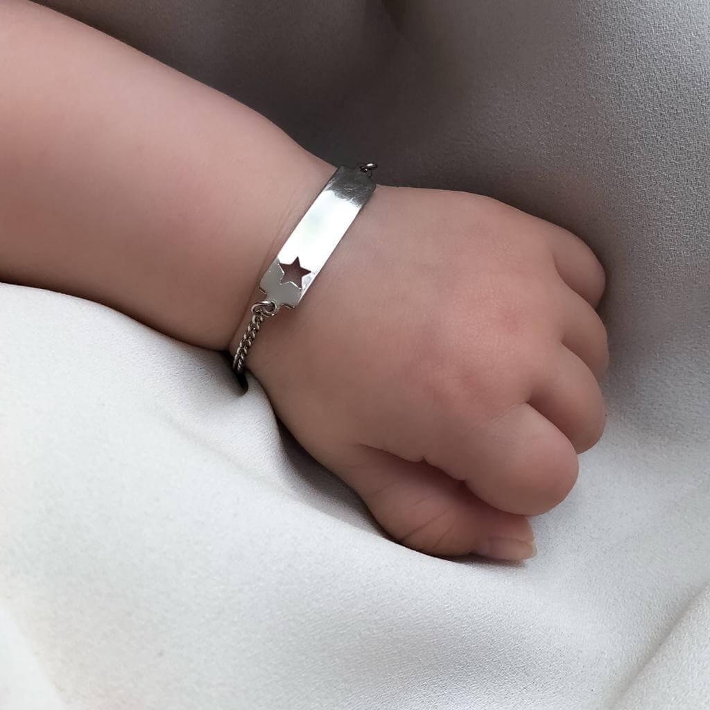 Pulseira Baby em Aço Inox Plaquinha Estrela