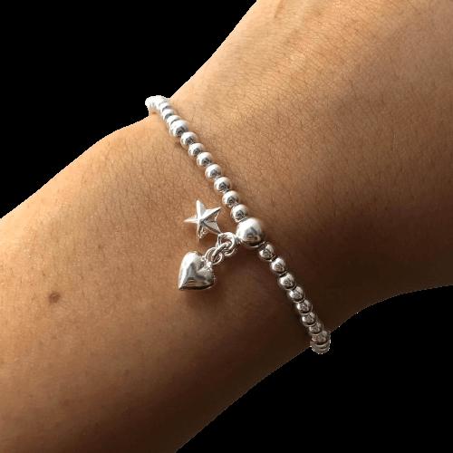 Pulseira Bolinhas em Prata 925 Pingente de Coração e Estrela