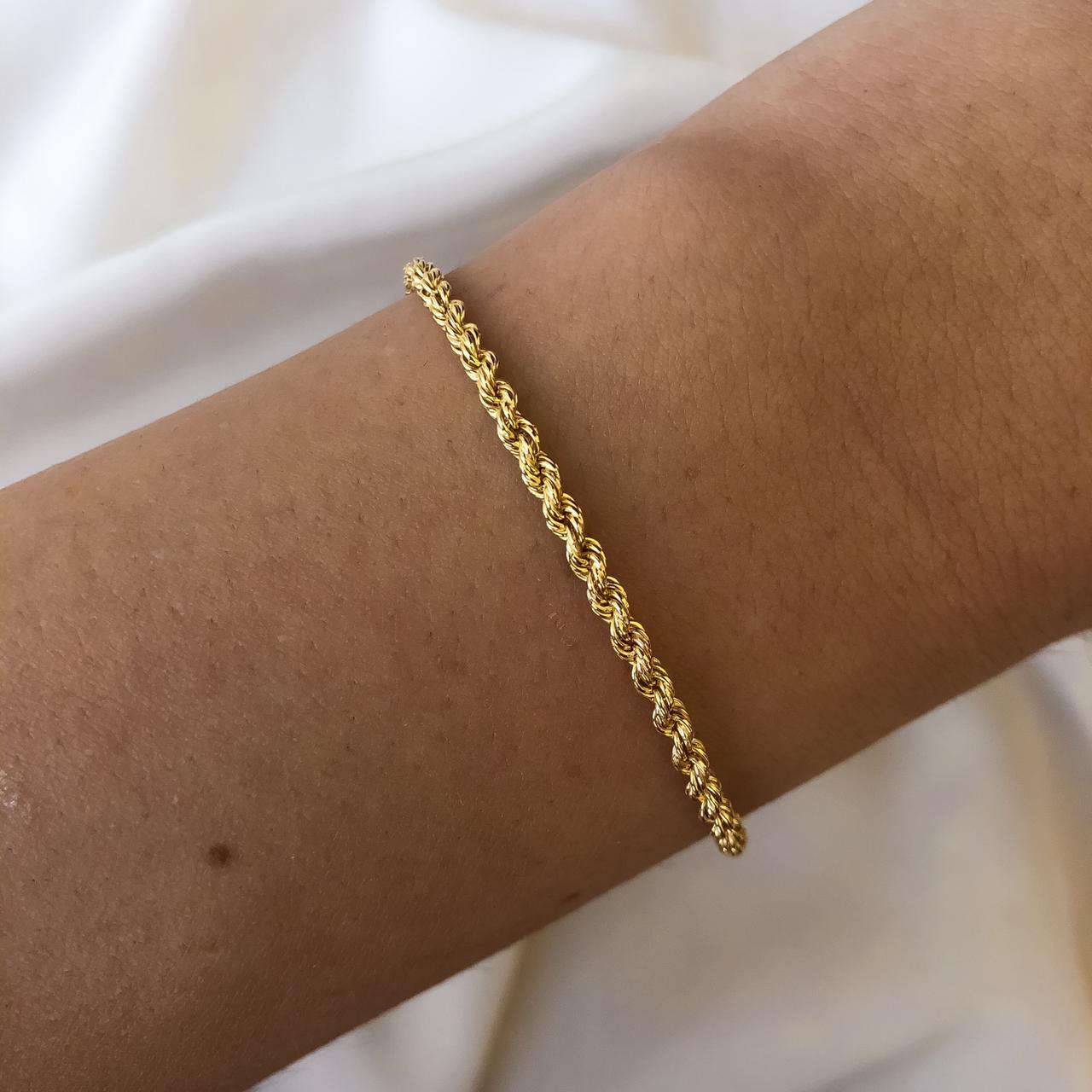 Pulseira Cordão Baiano Pequeno em Ouro 18K 18cm