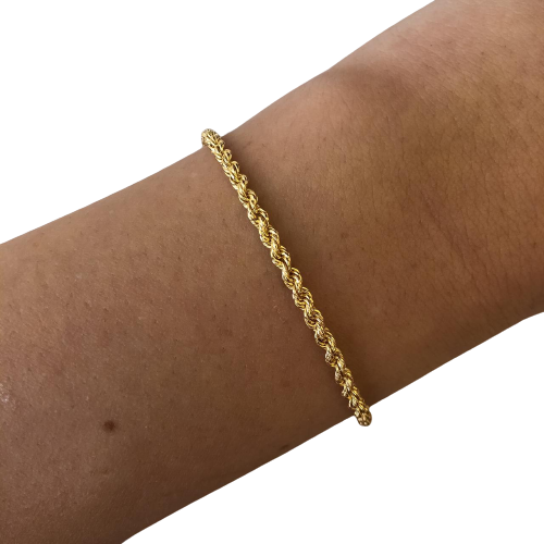 Pulseira Cordão Baiano Pequeno em Ouro 18K 19,5cm